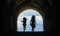 Fuori dal tunnel (Riccardo Palazzani - Italy) Tags: tremalzo tunnel galleria traforo brescia tremosine child run walk trentino silhouette lombardei   lombardie  lombardia   italia italie italien italy   itlia itali  italya   riccardo palazzani veridiano3 olympus omd em1