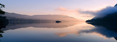 The island (panorama) (SimonLea2012) Tags: boat bridge sky clouds island lakedistrict lake mountains mountain glass early water mist dawn colour light reflection mirror