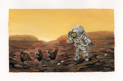 Chicken planet (Daniel Spacek) Tags: gouache dailypainting astronaut chicken venus