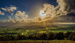 Pushing Through (MarkNewmanPhotography) Tags: cloudstormssunsetssunrises malvern hills worcestershire countryside sun beams sunbeams rays sunrays hilltop view