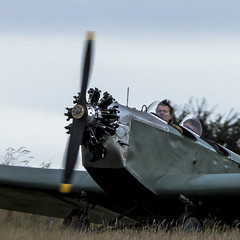 with the wind (from the propeller!) in his hair (HHH Honey) Tags: sonya7rii sony70300g 116picturesin2016 aeroplane vintage wiltshire salisburyplain klemmkl25 12spinning 12 spinning propeller pilot monoplane aircraft german