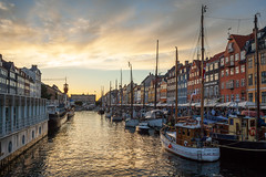 Nyhavn (Johnny H G) Tags: buildings architecture water pier harbor inlet nyhavn sunset johnnyhg copenhagen kbenhavn sky clouds denmark danmark canon eos