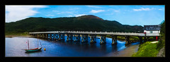 River Mawddach Toll Bridge (Kevin, Thanks for over 3 Million Views) Tags: toll bridge penmaenpool snowdonia river mawddach architecture sky water clouds wales canon1855mm kevinwalker hdr building yacht boat panorama panoramic widescreen waterways waterfront wow