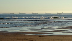 Ships (sonic182) Tags: ship ships distance distant beach wave waves portugal atlantic ocean rio tejo tagus river vessel tanker cargo carcavelos