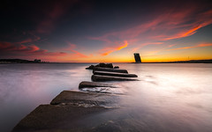 The sinking of the stones (marcolemos71) Tags: seascape sea water sky clouds stones concret tower evening longexposure algs oeiras portugal