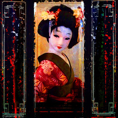 A glance in the mirror (Lemon~art) Tags: ragdoll mirror japanesedoll texture manipulation costume woman oriental glance face look vanity
