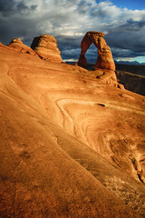 Intricate Etching (Brian Truono Photography) Tags: arches archesnationalpark delicatearch hdr highdynamicrange mantilasal moab nps nationalpark nationalparkservice utah arch bowl carve clouds colorful earth elements geology landscape light mountains natural nature rock rocks sand sandstone sky stone storm sunset swirl wind windblown unitedstates us