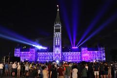 Purple Northern Lights (Caleb Ficner) Tags: ottawa calebficner parliament parliamenthill parliamentofcanada peacetower lights light lightshow northernlights purple
