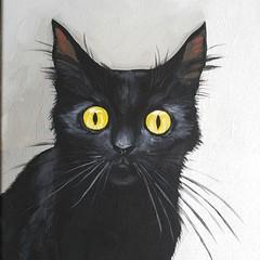 morticia (Jill Feenstra) Tags: cat kitty portrait pet mew lover art painting acrylic original