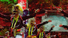 Ritual (Bamboo Barnes - Artist.Com) Tags: vivid photo painting digitalart red green light shadow surreal yellow bamboobarnes japan ritual festival dance mask roof shrine tree drums pose ceremony