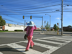 MaldenBlueSunHat (fotosqrrl) Tags: malden massachusetts streetphotography urban charlesstreet canalstreet intersection crosswalk hat
