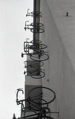 Olomouc (kaddafi210) Tags: czech summer trip olomouc analog praktica film 35mm retro vintage architecture city town street prakticaplc2 m42 analogue foma fomapan fomapan100 iso100 blackandwhite bw monochrome bicycle bike kolo shop
