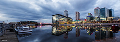 Salford Quays, Manchester, England (Shahid A Khan) Tags: city england urban reflection skyline architecture modern buildings manchester boat canal twilight media colorful flickr apartments forsale shot image picture salfordquays pic images bbc bluehour salford moored mediacity