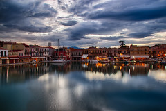 Old harbour, Rethymno (Theophilos) Tags: old sea sky reflection clouds boats harbour greece crete rethymno