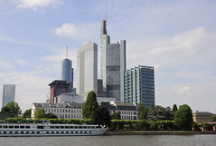 The skyscrapers of central Frankfurt as seen from the south bank of the Main river, Germany (Duncan Hale-Sutton) Tags: city cruise blue summer sky building tower june architecture skyscraper buildings river germany am scenery europe european skies ship skyscrapers frankfurt centre ships main towers central scenic cities eu style bank center scene architectural business german commercial rivers blocks summertime block financial scenes banks banking towerblock towerblocks hesse schaumainkai