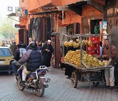 2010 01 Morocco, shops and stalls 09 (Mark Baker.) Tags: africa street shop fruit shopping photo baker hand market mark north stall banana morocco photograph souk marrakesh cart moroccan 2010 5photosaday picsmark
