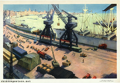New appearance of the harbour (chineseposters.net) Tags: china tractor poster ship shanghai harbour crane propaganda chinese  1977