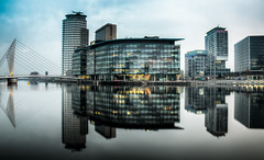 Reflecting The BBC (Philip R Jones) Tags: reflections dawn nikon salfordquays bbc salford hdr 3xp nikond7000 mygearandme bbcmediacityuk bestevercompetitiongroup