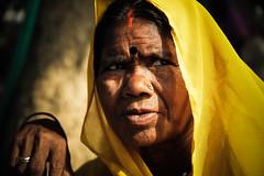 Black Bindi (Christine Lebrasseur) Tags: street travel portrait people woman brown india france art yellow canon delhi newdelhi in ltytrx5 allrightsreservedchristinelebrasseur
