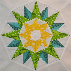Block for kelseysews (jenjohnston) Tags: blue green yellow star compass quiltblock paperpieced quiltingbee 4x5bee