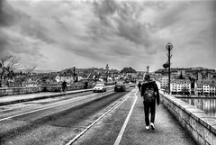Stari Most (Sareni) Tags: road bridge november houses sky people blackandwhite bw house cars car clouds buildings river hill center slovenia slovenija mb hdr highdynamicrange maribor 2012 starimost lent drava twop nebo oldbridge reka oblaci sareni