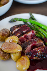 Roasted duck breast with new potatoes, asparagus and plum sauce (mikko kuhna) Tags: food wine plum potato butter asparagus redwine oliveoil thyme shallot beefstock