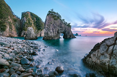 Futo Cove pm 5:46 (-TommyTsutsui- [nextBlessing]) Tags: longexposure blue autumn light sunset sea sky orange seascape nature rock japan landscape coast nikon purple dusk magic tide scenic       islet izu futo    nishiizu sigma1020 onsalegettyimages