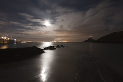 Full moon at Mumbles Pier - Explore No 38 - 1.12.12 Thanks! (Jo Evans1 - off and on for a while) Tags: sea moon reflection night clouds cloudy full mumbles