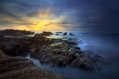 Three Minutes of Solitude [Explore] (Pandu Adnyana (thanks for 100K views)) Tags: ocean sunset bali beach rock indonesia long exposure wave mengening