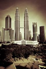 Petronas Towers oldstyle (lunarlynx) Tags: city travel bw inspiration travelling tower monochrome architecture wow giant observation blackwhite big asia cityscape oldstyle view skyscrapers postcard famous capital petronas towers creative explore malaysia destination viewpoint discover cityview observationdeck famousplaces famoussights