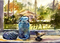 Window (Sherry Schmidt) Tags: art glass watercolor painting landscape view interior shell jar watercolour inside