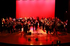 The pre-show reception on stage at The Vets
