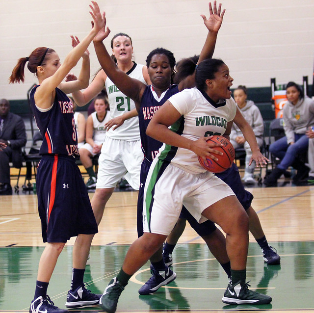 Sophomore Tashea Plummer worked the inside and scored 11 points and grabbed eight rebounds on Thursday against Washington Adventist. Photo by Liz Case