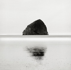 Haystack Rock, Oregon Coast (austin granger) Tags: longexposure reflection film oregon composition coast time symmetry flux mind impermanence change geology haystackrock largeformat seastack pacificcity deardorff austingranger