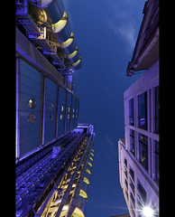 Skywards (esslingerphoto.com) Tags: city longexposure greatbritain blue light england building london up architecture night clouds skyscraper photography eos lights star evening europe long exposure cityscape looking skyscrapers shot nightshot britain capital great single hour gb 5d nightshots bluehour burst mkii esslinger esslingerphotocom
