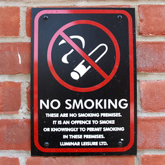 NO SMOKING (Leo Reynolds) Tags: sign canon eos 28mm 7d f80 iso160 signsafety signno hpexif 0022sec signnosmoking signcirclebar xleol30x