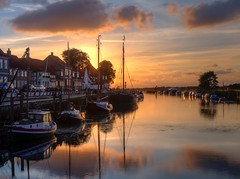 The Wharf at Ribe, Denmark (Gareth L Evans) Tags: ribe wharf sunset harbour golden