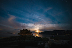 Whytecliff Park (MLPixels) Tags: moon whytecliffpark night stars starrysky shore shoreline ocean beach cloud outdoor moonset