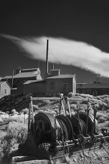 Cables (gpa.1001) Tags: california owensvalley easternsierras bodie monocounty blackandwhite bw infrared infraredfilter ir cable standardstampmill clouds