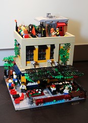 "Modern Modular: ""Bookstore International"" (brickbuilder711) Tags: lego modern modular building city town train bookstore cafe cuban coffee window corner miami florida"