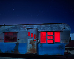 additional dimensions (Maureen Bond) Tags: night sky nocturne stars ca maureenbond trailer door windows blue red lightpainting desert mojave breaking bad scifi additionaldimensions