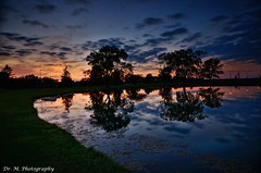 Sunset Reflections [HDR] [EXPLORE] (Dr. M.) Tags: hdr longexposure colors clouds sunset water reflection calm solitude nikon d7000 landscape nature silhouette pond bgsu bowlinggreen ohio