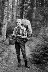 Leivonmaki National park, Finland (Iurii & Natali) Tags: ilford delta bw girl forest wood mushrooms berries walking black white bokeh trees nikon f80 classic analogue vintage portrait summer august finland suomi