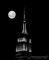 NY2016-1 (Expressions and Beyond Photography) Tags: empirestateofmind empirestatebuilding blackandwhite nightphotography nyclife nyc newyork moon 135mmf2l canon canonusa 5dmk3 5dmark3 architecture skyscrapers