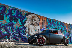 Volksrod Style (Eric Arnold Photography) Tags: vw volkswagen volksrod custom vehicle car auto automobile automotive outdoor blue sky ratrod hotrod mural indian native american grafitti graffiti dtlv downtown vegas lasvegas nv nevada 2016 1971