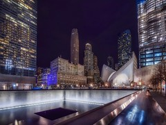 9/11 Memorial (karinavera) Tags: travel nikond5300 financial urban night building nyc wtc oculus district 911 newyork memorial longexposure city