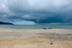 Stop Pollution (Anna Hari) Tags: 2016 fujifilm xm1 malaysia beach sea water penang sand boat sky skyscape storm pollution plastic rain clouds grey landscape seascape shore seaside outdoor