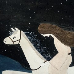 A woman on the white horse -ten nights of dreams (mhasegawa165) Tags: woman horse tennightsofdreams novel illustratednovel watercolour illustration