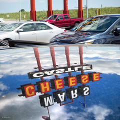 Castle Reflection (Andy Marfia) Tags: wisconsin kenosha cheese marscheesecastle castle sign relection squarecrop sonyrx100 1400sec f8 iso125