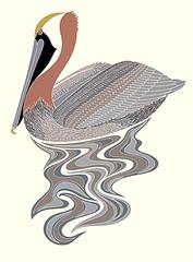 Brown pelican (Japanese Flower and Bird Art) Tags: bird brown pelican pelecanus occidentalis pelecanidae ikki matsumoto modern screenprint print japan japanese art readercollection